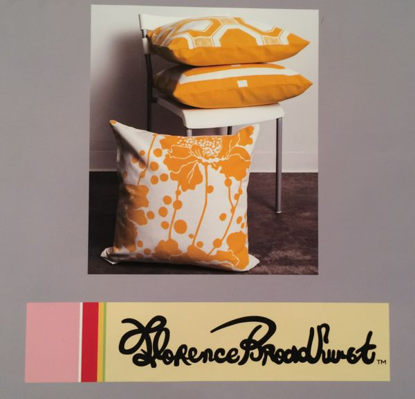 florence broadhurst logo and pillows