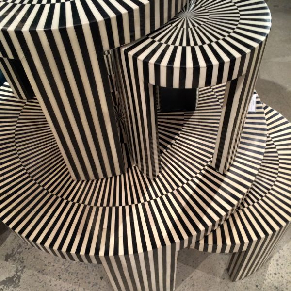 Nesting tables at Made Goods with Op Art effect