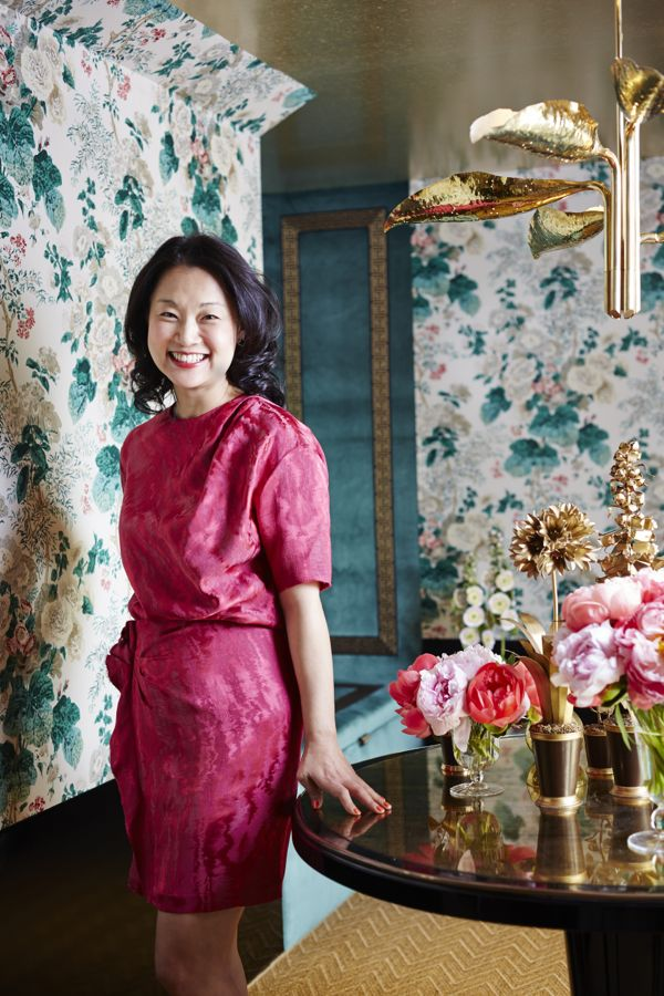 Interior Designer Young Huh in her beautiful Hollyhock Lounge in the 2014 Kips Bay Showhouse