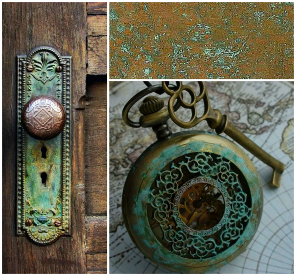 Copper with a verdigris patina