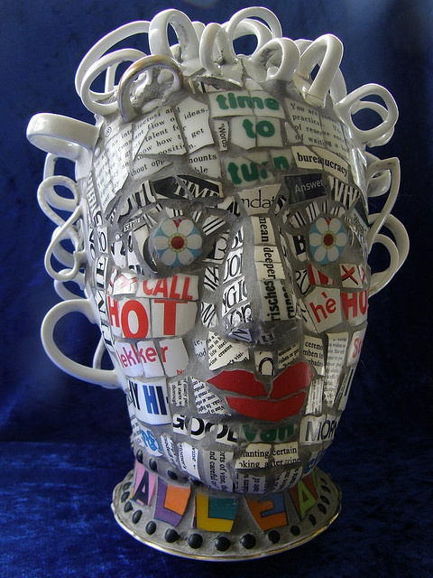 """Pique Assiette by Elsbeth's Mosiacs.""""I am all ears"""" by Elsbeth's Mosaics Adore the cup handle ears."""
