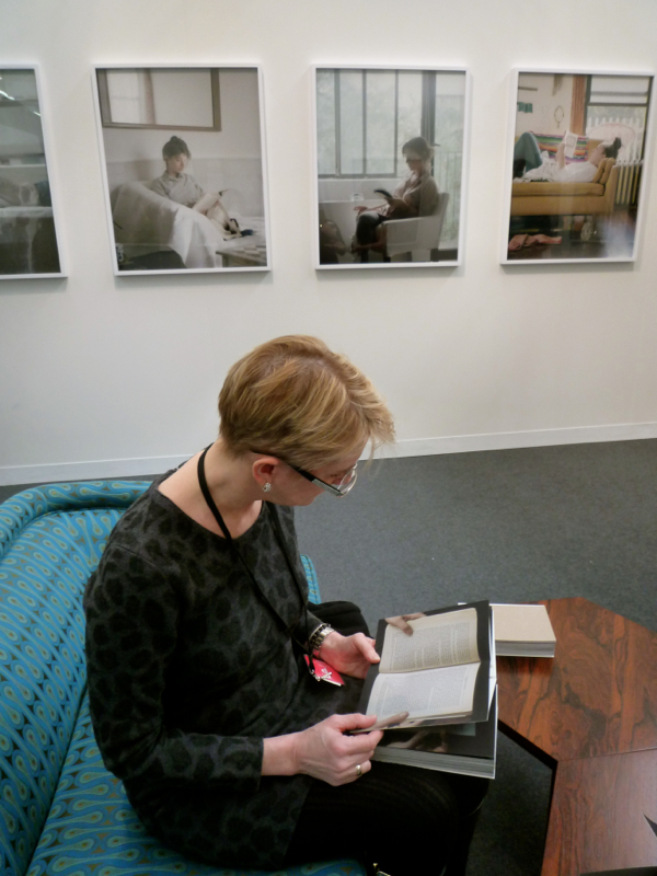 Lynn Byrne at the Armory Show enjoying Carrie Schneider's photography
