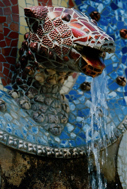 Fountain in Parc Guell with Pique Assiette