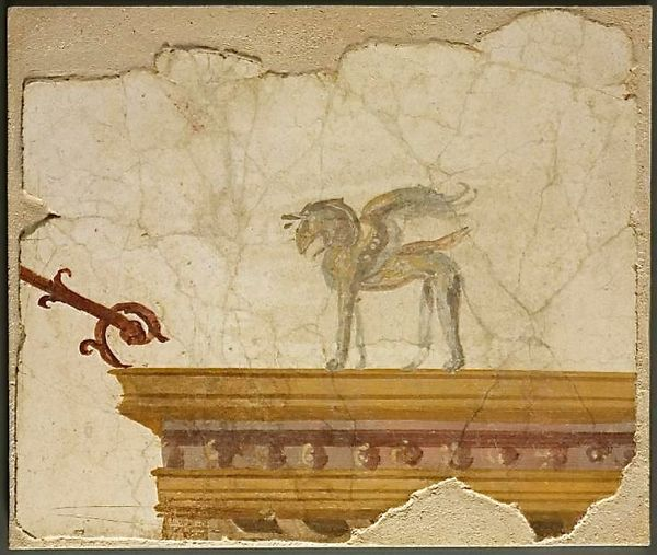 Griffin atop entablature, fresco fragment, Italy, Pompeii, Roman, 1st century - The Cleveland Museum of Art