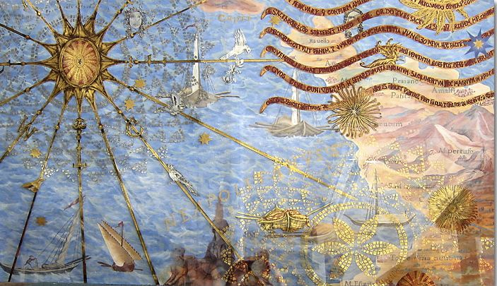 Sea Crossing, a painting on glass by Miriam Ellner using various techniques including verre eglomise