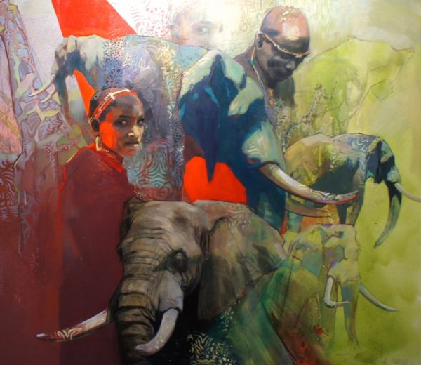 EMILY LAMB (B.1985) African giants oil on canvas 51 1/4 x 59 in. (130 x 150cm.) Sold.