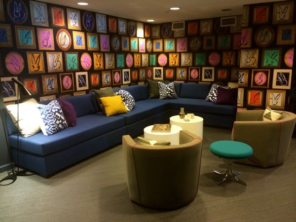 The Tower Lounge , part of Project Design at the Ronald McDonald House of Long Island, featuring wallpaper inspired by famed artist Hunt Slonem's bunny paintings.
