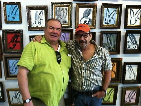 The artist on the left with Bruce Helander; photographed in Slonem's Chelsea studio from the Omaha Sun Times
