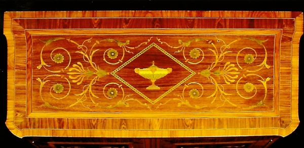 Detail of George III commode showing marquetry. c. 1770
