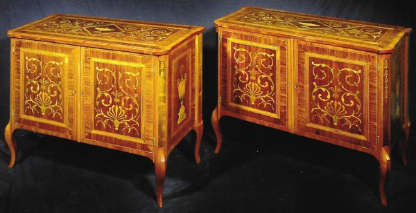 A fine pair of George III with marquetry attributed to Christopher Fuhhrlogh, c. 1770