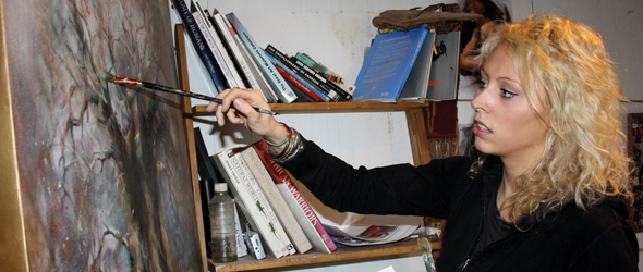 Emily Lamb in the studio.