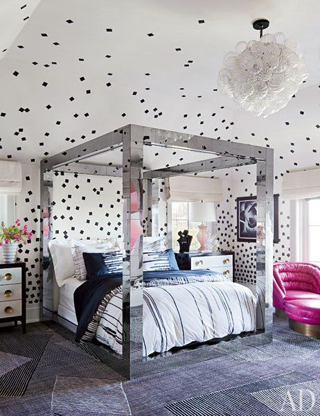 Paul Evans bed. Interior Design by Kelly Wearstler.