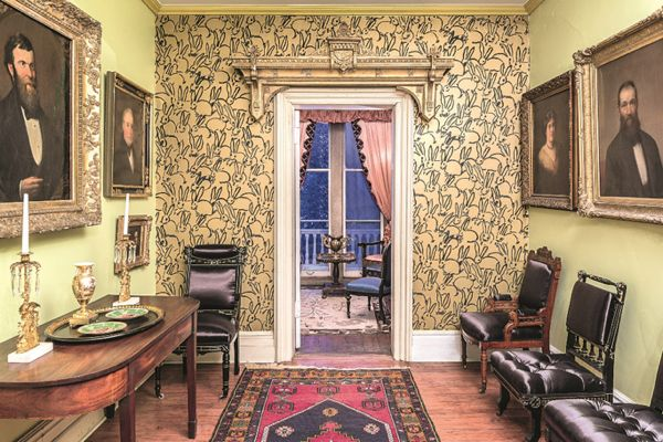 Hunt Slonem's Cordts Mansion featuring his wallpaper from Lee Jofa.