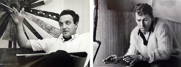 Paul Evans on the left with his sketchbook. Phillip Lloyd Powell on the right.