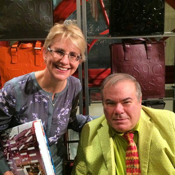 Lynn Byrne with Hunt Slonem