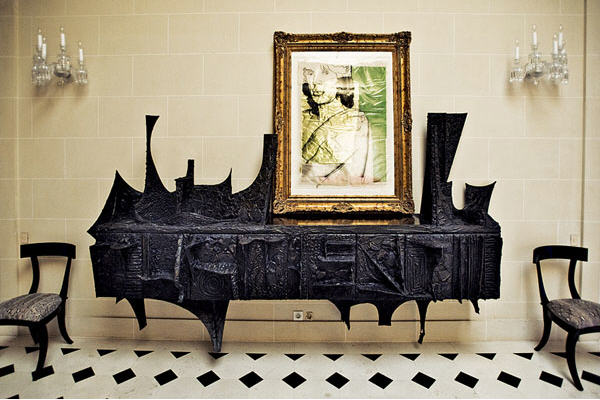 Paul Evans Sculpted Bronze console in the home of Lenny Kravits