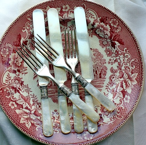 Set of Antique Victorian Mother of Pearl Flatware Service With Sterling Ferrules