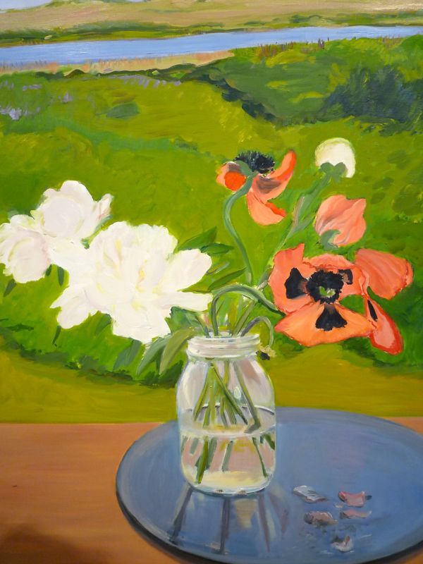 "Detail from ""Poppies & Peonies"" 1983 oil on linen Jane Freilicher"