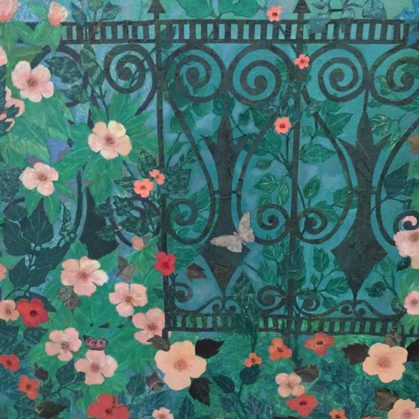 "Detail from ""Geisha Flight"" mixed media collage Giuseppe (Joseph) Riviera"