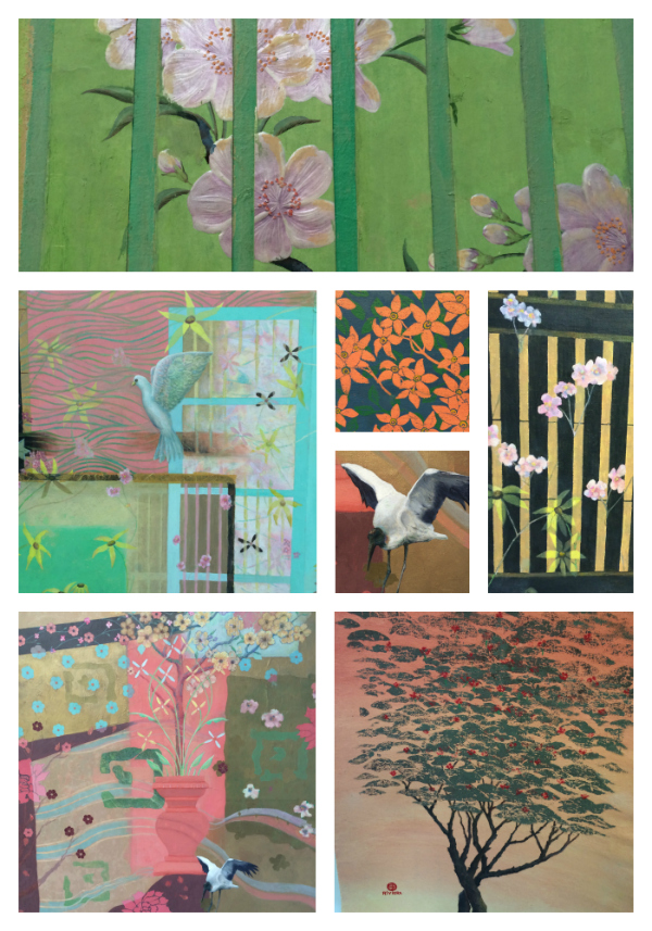 Details from several mixed media works by Giuseppe Riviera