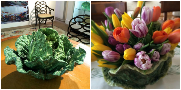 Cabbage tureen from the estate of Bunny Mellon on left, and my cabbage tureen used as a vase for my Easter centerpiece