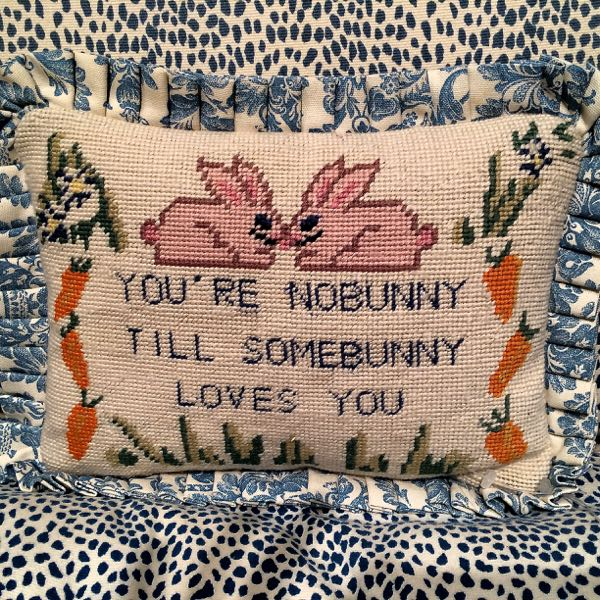 Needlepoint pillow from the estate of Bunny Mellon