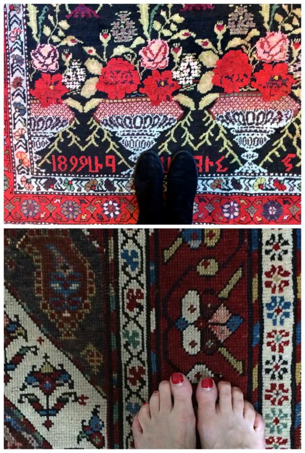 Bunny Mellon's rug on top, mine on the bottom. Sorry, I do know I need a fresh pedicure.