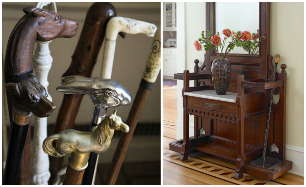 Charming collection of walking sticks from the Estate of Bunny Mellon, and my single walking stick looking for friends to join it.