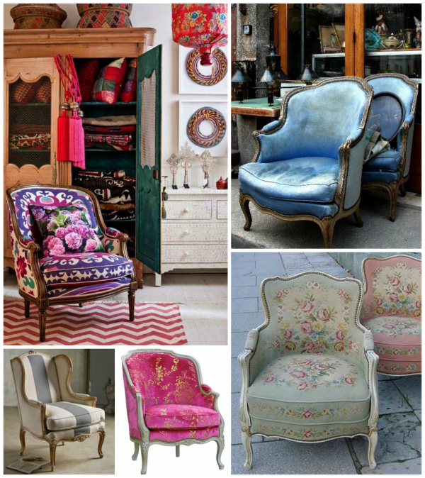 A bergere is an upholstered chair that originated in France and is characterized by upholstered panels between the arms and the seat