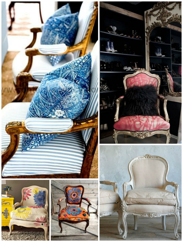 French style upholstered chairs known as fauteuils, characterized by open sides.