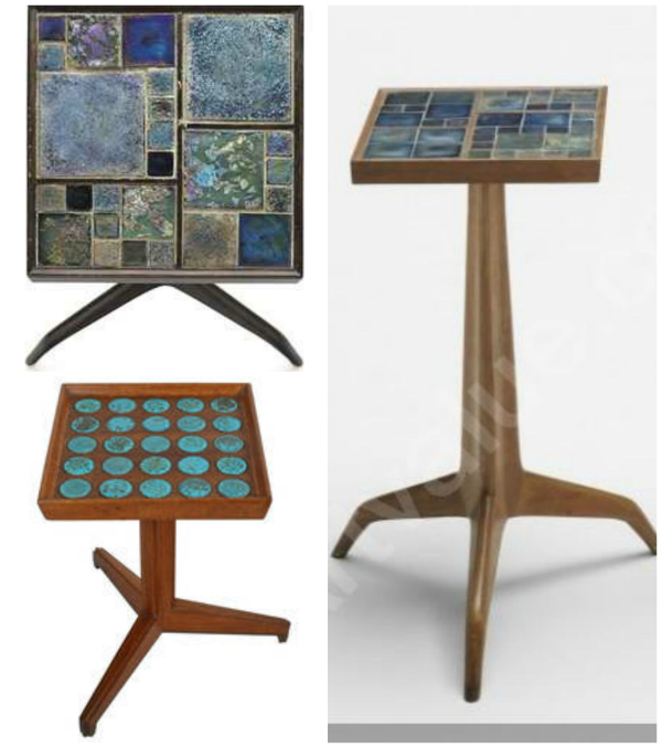 Occasional tables by Edward Wormley from his Janus Collection for Dunbar featuring inlaid tile