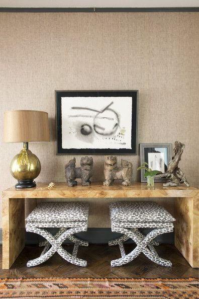 Coveting this burl console in the home of Cloth & Kind designer Tami Ramsey