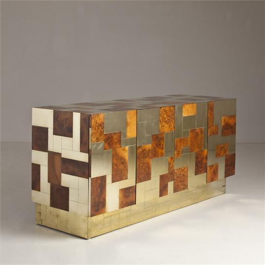 Paul Evan's Cityscape cabinet featuring burl wood