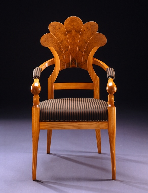 Custom Made Myrtle Burl and Ash Chair with Arms by Culin & Collella, Inc. [Biedermeier inspired]