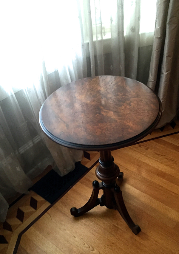 Our Victorian period side table with burl top.