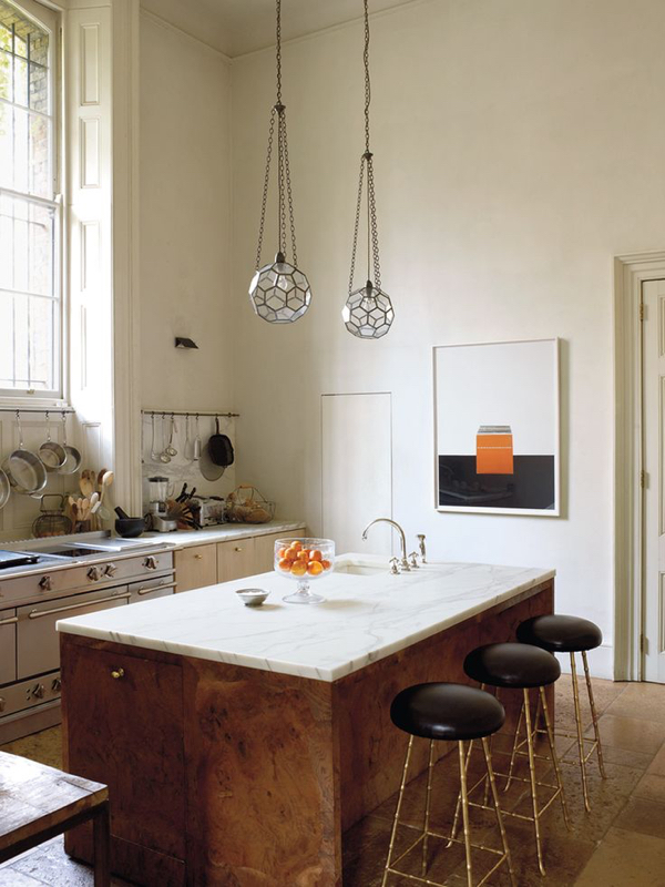 Stylish burl wood island in this fab kitchen