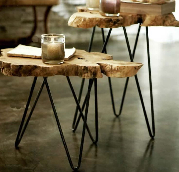 Contemporary side tables with burl wood top.