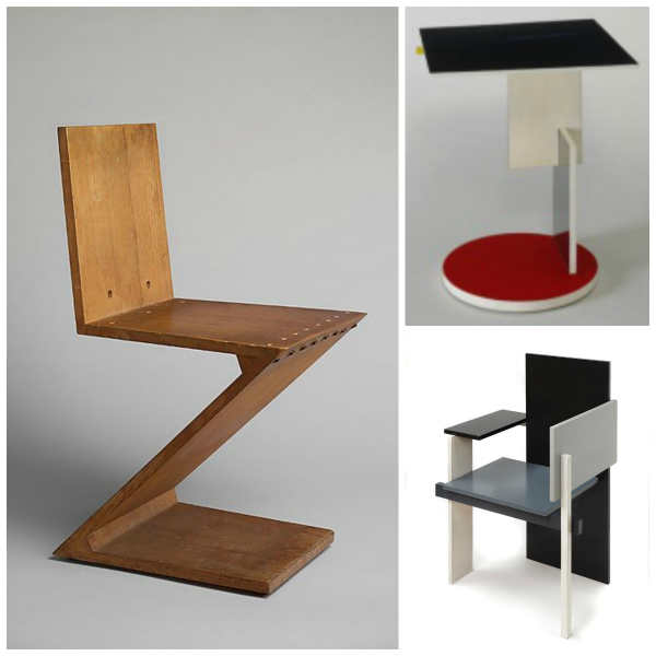 Gerrit Rietveld's Zig Zag chari and other furniture by him from the De Stijl movement