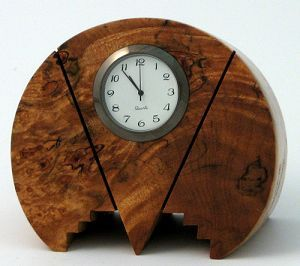Burl wood clock from the art deco period