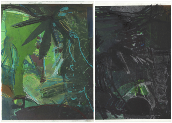 Two studies by Sangram Majumdar for Underwater Electric Greenhouse, marker, charcoal and pastel on digital collage