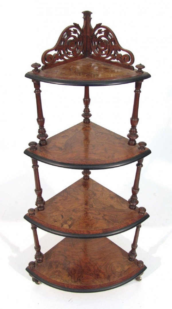 Victorian period whatnot with burl wood
