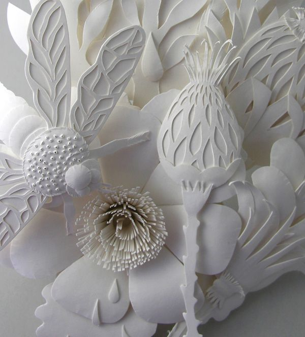Detail of paper cutting sculpture by Elsa Mora