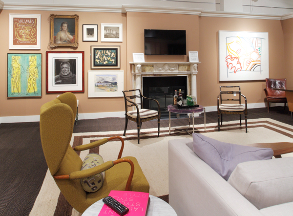 "Eric Cohler has been dubbed the ""mix master"" for his commanding ability to mix differing periods of art and furniture in his rooms, seen here in the family room he designed for Sotheby's Show House. Photo Courtesy of Sotheby's."