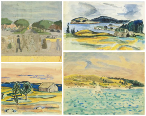 Details from works by Fairfield Porter. Lots 190, 191, 206, 207