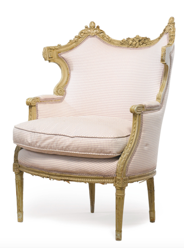 Lot 159: A Louis XVI gray-painted and carved bergère partially composed of 18th century elements Estimate 3,000 — 5,000 USD