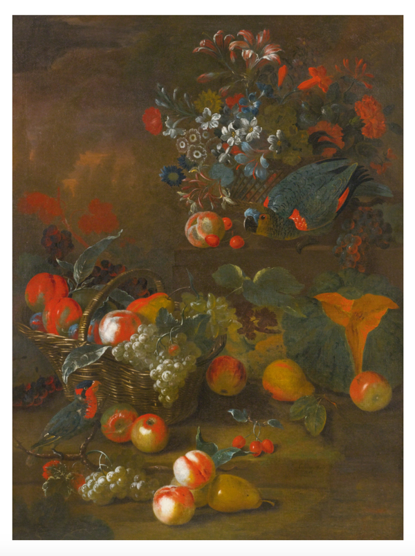 Lot 181: Charles Collins STILL LIFE WITH TWO PARROTS, A BASKET OF FLOWERS, A BASKET OF PEACHES AND GRAPES, A PEAR AND CANTALOUPE IN FRONT Estimate 5,000 — 7,000 USD Photo by Sotheby's.