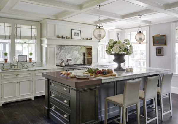 Hudson Valley Lighting Coolidge pendants look striking in this kitchen