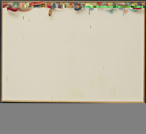 """Jim Dine. (American, born 1935). Five Feet of Colorful Tools. 1962. Oil on unprimed canvas surmounted by a board on which painted tools hang from hooks, 55 5/8 x 60 1/4 x 4 3/8"""" (141.2 x 152.9 x 11 cm). The Sidney and Harriet Janis Collection. © 2008 Jim Dine / Artists Rights Society (ARS), New York"""