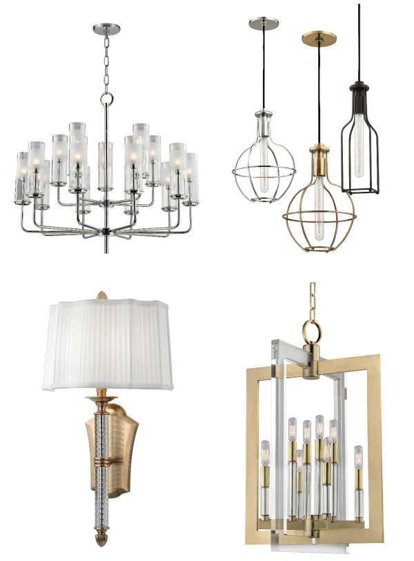 Clockwise from Hudson Valley Lighting, the Wentworth chandelier, a grouping of Colebrook pendants, the Wellington pendant and the St. George sconce.