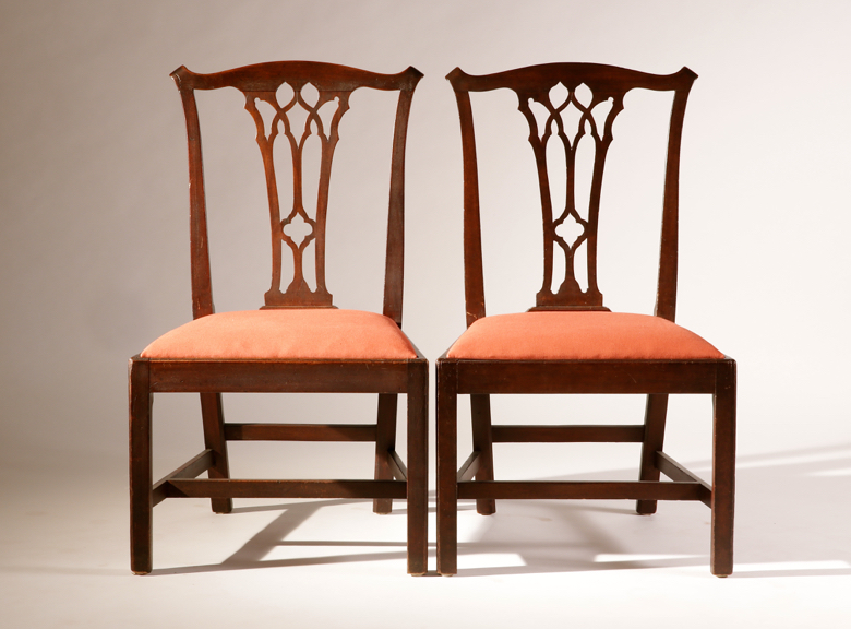 Pair of Gothic Chippendale Chairs showing flat splats with arches and quatrefoils.